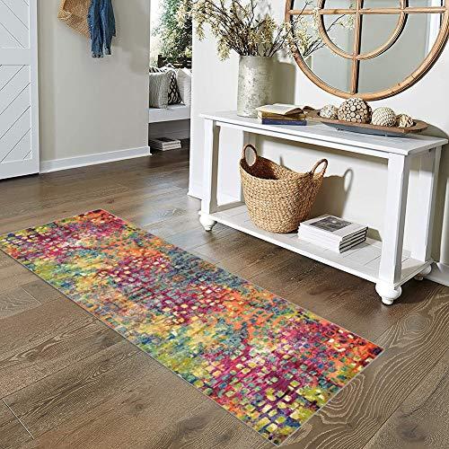 Qonei Teppich Läufer Flur Küche Bunt rutschfest 80x200, Vintage Läufer Teppich Waschbar Chemischer Faser Geometrisch Gemusterter Anpassbar (Color : #Color2, Size : 80x200cm)