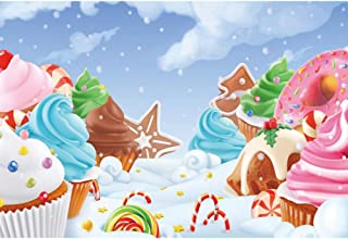 Renaiss 5x3ft Winter Snow Field Sweet Dessert World Photography Backdrop Cute Cupcake Donuts Ice Cream Snowflakes Children Birthday Baby Shower Party Cake Table Background Wallpaper