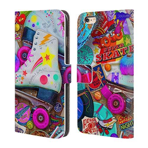 Head Case Designs Licenza Ufficiale Aimee Stewart Notte di Skate Dolciumi Colorati Cover in Pelle a Portafoglio Compatibile con Apple iPhone 6 Plus/iPhone 6s Plus
