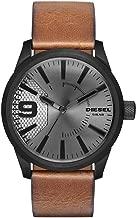 Diesel Men's Rasp Stainless Steel Analog-Quartz Watch with Leather-Calfskin Strap, Brown, 24 (Model: DZ1764)