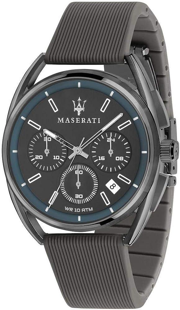 Maserati orologio cronografo  da uomo, collezione trimarano, in acciaio, pvd canna di fucile, silicone 8033288820314