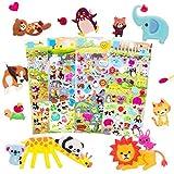 IMNEXT2U 3D Puffy Stickers for Kids 2-4 Resuable Sticker for Toddler, Boys, Girls 4 Sheets - Mother Child Animals, Dogs, Cats, Elephant, Giraffe, Monkey, Sheep, Panda, Koala, Rabbit (Zoo)