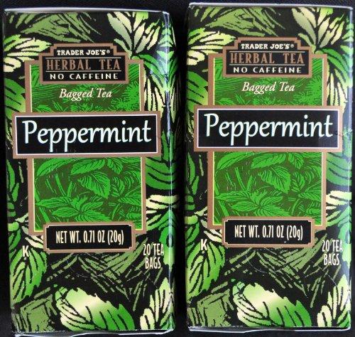 Trader Joes Peppermint Tea TWO PACK -- 40 Tea Bags -- Herbal No Caffeine