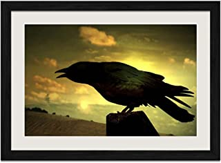 Crow - Art Print Wall Black Wood Grain Framed Picture(24x16inch)