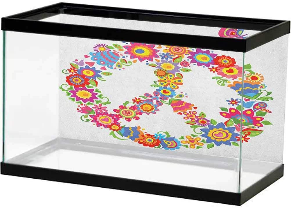 ScottDecor Groovy Fish Tank Poster Peace and Love Text in Tie Dye Pattern Energetic Youthful Fun 60s 70s Hippie Design Ocean Background Photo Multicolor
