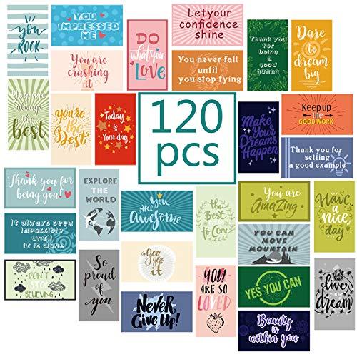120 Pieces Motivational Encouragement Quote Cards Inspirational Kindness Appreciation Gratitude Business Cards Encouragement Mini Note Cards for Women Men Student Kids Teachers (30 Styles)