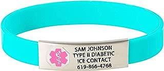 Divoti Custom Engraved Medical Alert Bracelets for Women/Men, Silicone Medical Bracelet, Medical ID Sport w/Free Engraving & Color Options - Pink Caduceus
