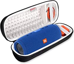 BOVKE Shockproof Carrying Case for JBL Charge 3 JBLCHARGE3BLKAM Waterproof Portable Wireless Bluetooth Speaker - Fits USB Cable and Wall Charger.Black
