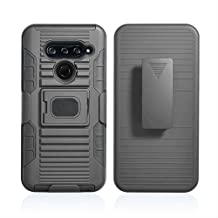 Compatible for LG V40 Case with Clip, with Clip Black Ring Grip Cover + Belt Hip Holster Stand [with Built-in Mounting Plate] for LG V40 ThinQ