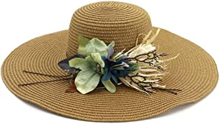 Summer hat 2019 Summer New Beach Hat for Women's Women's Travel Hat Big Hat Flower Graceful Sunscreen hat (Color : Coffee, Size : 56-58CM)