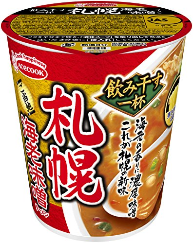 AceCook Sapporo Hokkaido Garnelen Miso Ramen 72g × 12 Japan Cup Nudeln