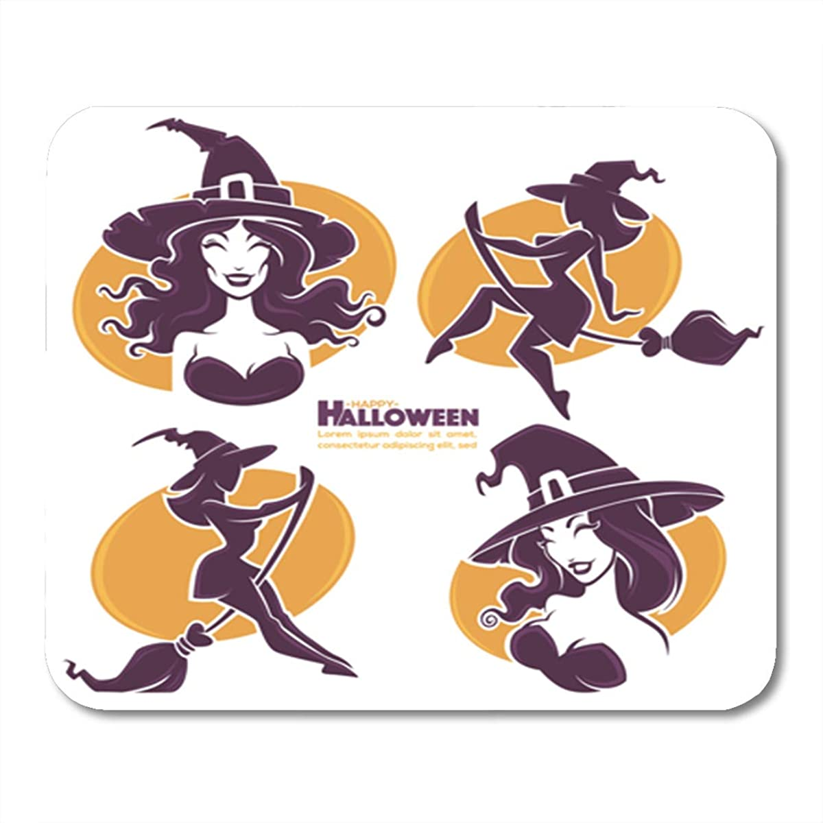 Semtomn Gaming Mouse Pad Witch Young Happy and Attractive Witches Halloween Collection Hot 9.5