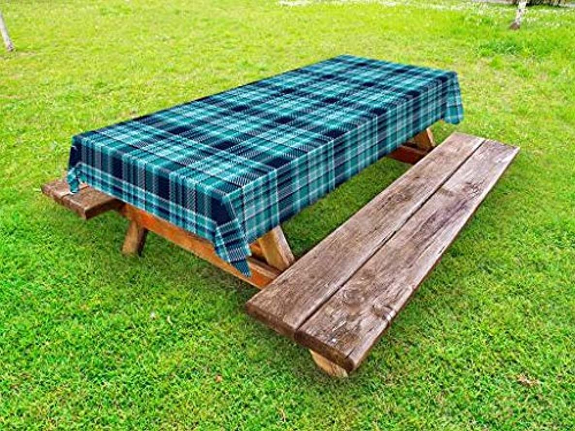 Lunarable Plaid Outdoor Tablecloth, Checkered Design with Squares and Rectangles Pixel Art Inspired Chevrons, Decorative Washable Picnic Table Cloth, 58 X 84 Inches, Dark Blue Aqua White