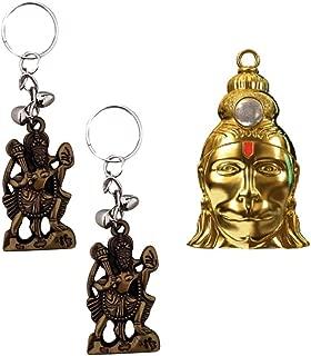 Divya Mantra Hanuman Chalisa Kawach Yantra Good Luck Charm Protection Pendant Locket Talisman & 2 Hanuman Keychains for Bike/Car/Home; Gift Set