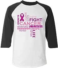 Shop4Ever Pink Ribbon Support Breast Cancer Awareness Raglan Baseball Shirt