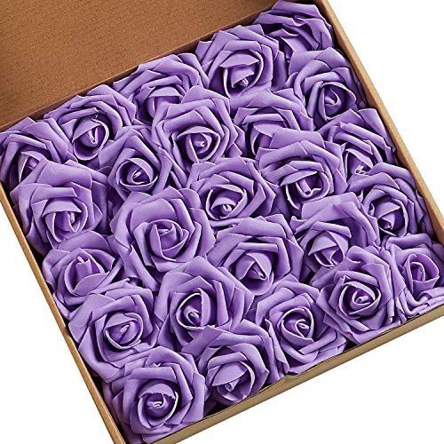 N&T NIETING Artificial Flowers, African Violet Roses 25pcs Fake Flowers with Stem for DIY Wedding Party Baby Shower Home Decorations Valentines Day Gifts for Him Her Kids