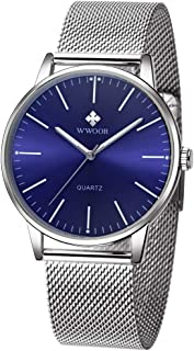 Simple Slim Mens Watch Analog Quartz Waterproof Stainless Steel Mesh Band Casual Wrist Watches for Men