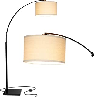 Brightech Logan LED Arc Floor Lamp with Marble Base - Living Room Lighting For Behind the Couch - Modern, Tall Standing Hanging Light - Black