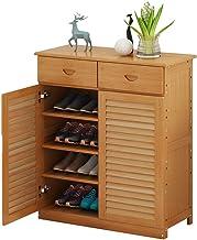 رف تخزين للأحذية من إن واي كيه كيه كيه - رف حذاء المدخل بلون الخشب الأصلي، أثاث الخزانة، تصميم متعدد الاستخدامات، مع درج، ...