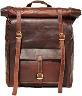 Satchel And Fable Men Women College Vintage Book Bag Fashion Anti-Theft Travel Leather Rucksack Roll Backpacks with fit 1...