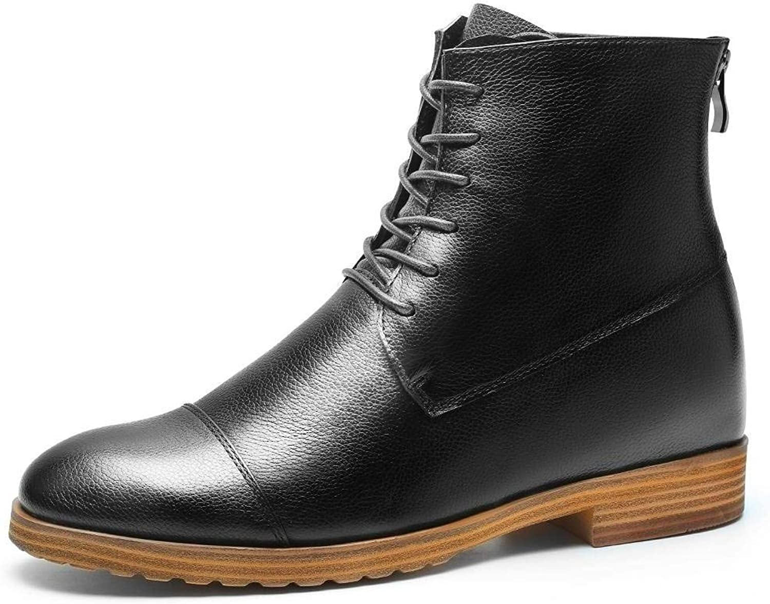 CHAMARIPA Height Increase shoes Elevator Boots Black Leather Chukka Taller 7CM  2.76 Inches H82B51D011D