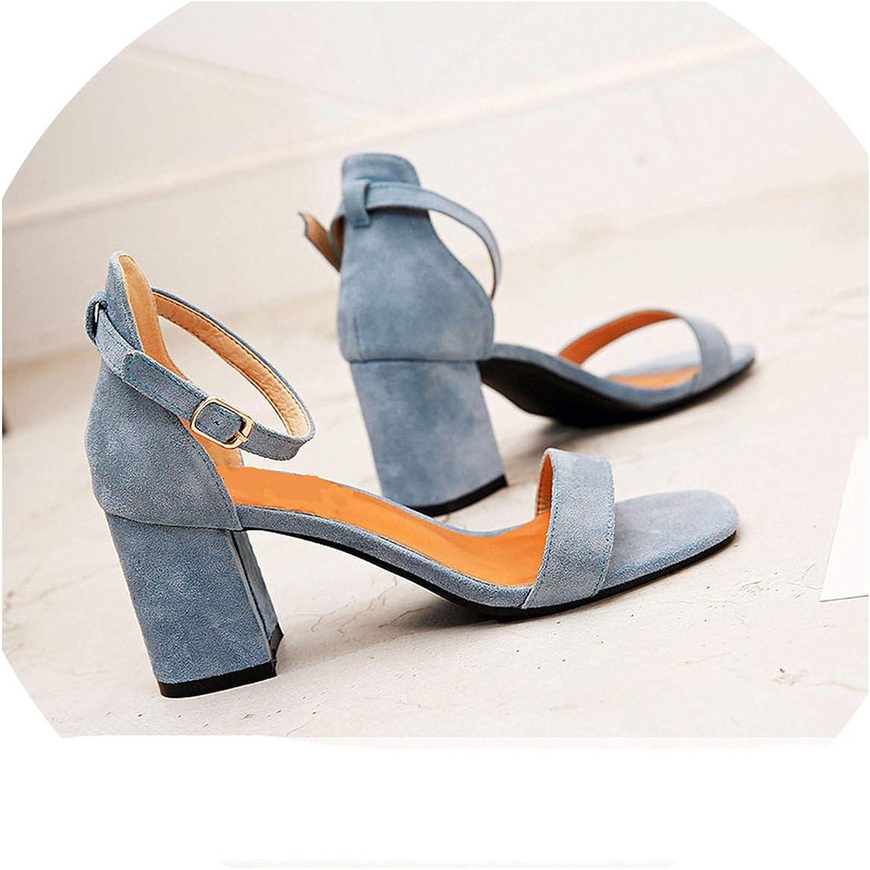 JIESENGTOO Beige Black Gladiator Sandals Summer Office High Heels Buckle Strap Pumps Casual Plus Size 34-40
