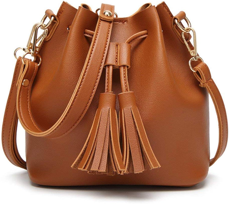 Ladies Handbag Female Bag Korean Version of The Tassel Small Bag Casual Mobile Slung Shoulder Bag (color   Brown)