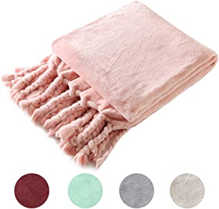 Homiest Luxury Flannel Fleece Throw Blanket for Couch Sofa Lightweight Soft & Cozy Velvet Throw Blanket with Fringe (50 x 60,Pink)