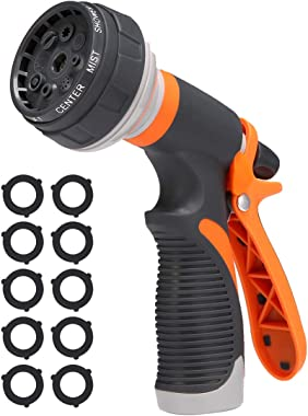 PATHONOR Water Hose Nozzle, Hose Spray Nozzle Garden Hose Nozzle Heavy Duty high Pressure with 8 Adjustable Watering Spray Patterns for Watering Garden, Cleaning, Washing Cars, Showering Pets