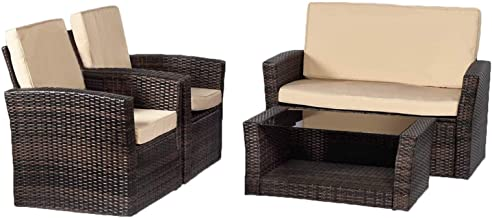 FDW Sectional Sofa Rattan Chair Wicker Conversation Set Outdoor Backyard Porch Poolside Balcony Garden Furniture with Coff...