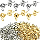 180 Pieces Ball Post Earring Stud with 200 Pieces Butterfly Ear Back Earrings with Loop for DIY...
