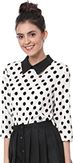 Women 3/4 Sleeves Contrast Peter Pan Collar Polka Dots Blouse