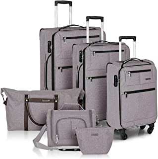 Fochier Softshell Luggage Set 6 Piece Lightwieght Expandable Spinner Suitcase with TSA Lock,Beige