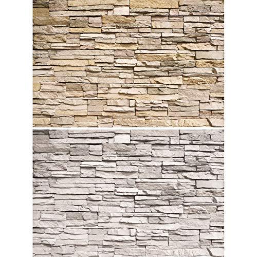 GREAT ART 2er Set XXL Poster – helle Steinwände Industriedesign Loft Wand Steinoptik Wandverkleidung Wandbild Dekoration Naturstein Wandposter Fotoposter Wanddeko (140 x 100cm)