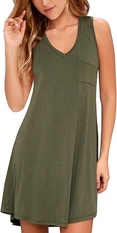 KEEDONE Women's Sleeveless Pockets Casual Swing TShirt Dresses