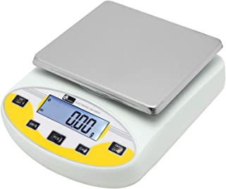 CGOLDENWALL Lab Digital Precision Analytical Balance Lab Scale Precision Scale Laboratory Weighing Electronic Balance Jewelry Scales Gold Balance Kitchen Scales Yellow Calibrated (5000g, 0.01g)