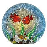 GlassOfVenice Acuario de cristal de Murano con peces dorados y sol