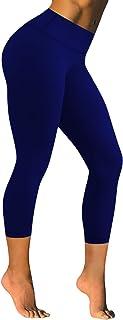 بنطلون يوغا نسائي من BUBBLELIME مقاس 55.88 سم عالي / متوسط الخصر منقوش عليه نمط حزام تحكم في البطن سروال داخلي للجري مرن