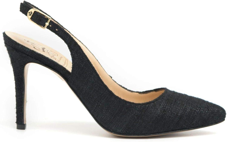 L'Arianna - High Heel Slingback schuhe in schwarz schwarz Fabric - CH 2002CANVAS schwarz  exklusive Designs