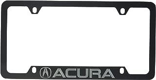 Acura Logo & Wordmark License Plate Frame Holder (4 Hole/Brass, Black/Bottom)
