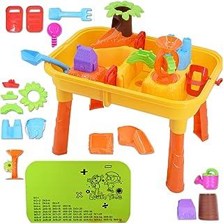 deAO Mesas de Juegos Exteriores 2 en 1 para Agua y Arena Mesa de Plástico Infantil con Tablas de Multiplicar y Acesorios de Playa Incluidos