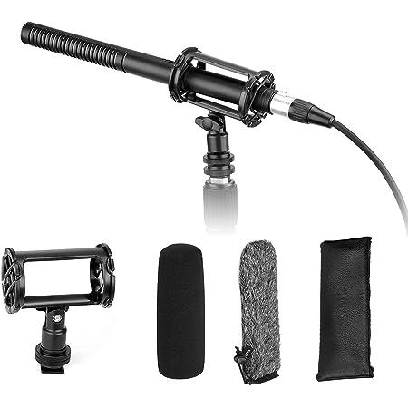 Microfono XLR a fucile per interviste, microfono BOYA Pro di qualità broadcast con parabrezza in schiuma e supporto antiurto e uscita XLR a 3 pin Compatibile con Canon 6D Nikon D800 Videocamere Sony