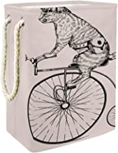 Sturdy Laundry Hamper Steam-Punk Cat On Retro Bicycle with Bag and Glasses Laundry Storage Baskets with Detachable Bracket...