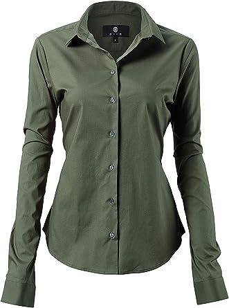 Harrms - Blusa básica para mujer, entallada, de manga larga, de algodón, de un solo color, lisa, para traje, trabajo, con bolsillo en el pecho, fácil ...