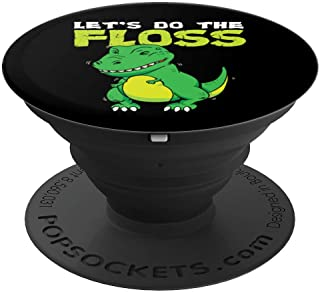 Let's Do The Floss Cute Dinosaur Flossing T-Rex Dance PopSockets Grip and Stand for Phones and Tablets