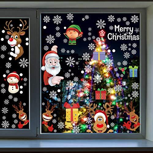 GonLei Christmas 160 Pieces Snowflake Reindeer Santa Claus Elf Peeking Christmas Window Stickers for Glass,Christmas Winter Wonderland Xmas Party Supplies Window Clings(8 Sheets)