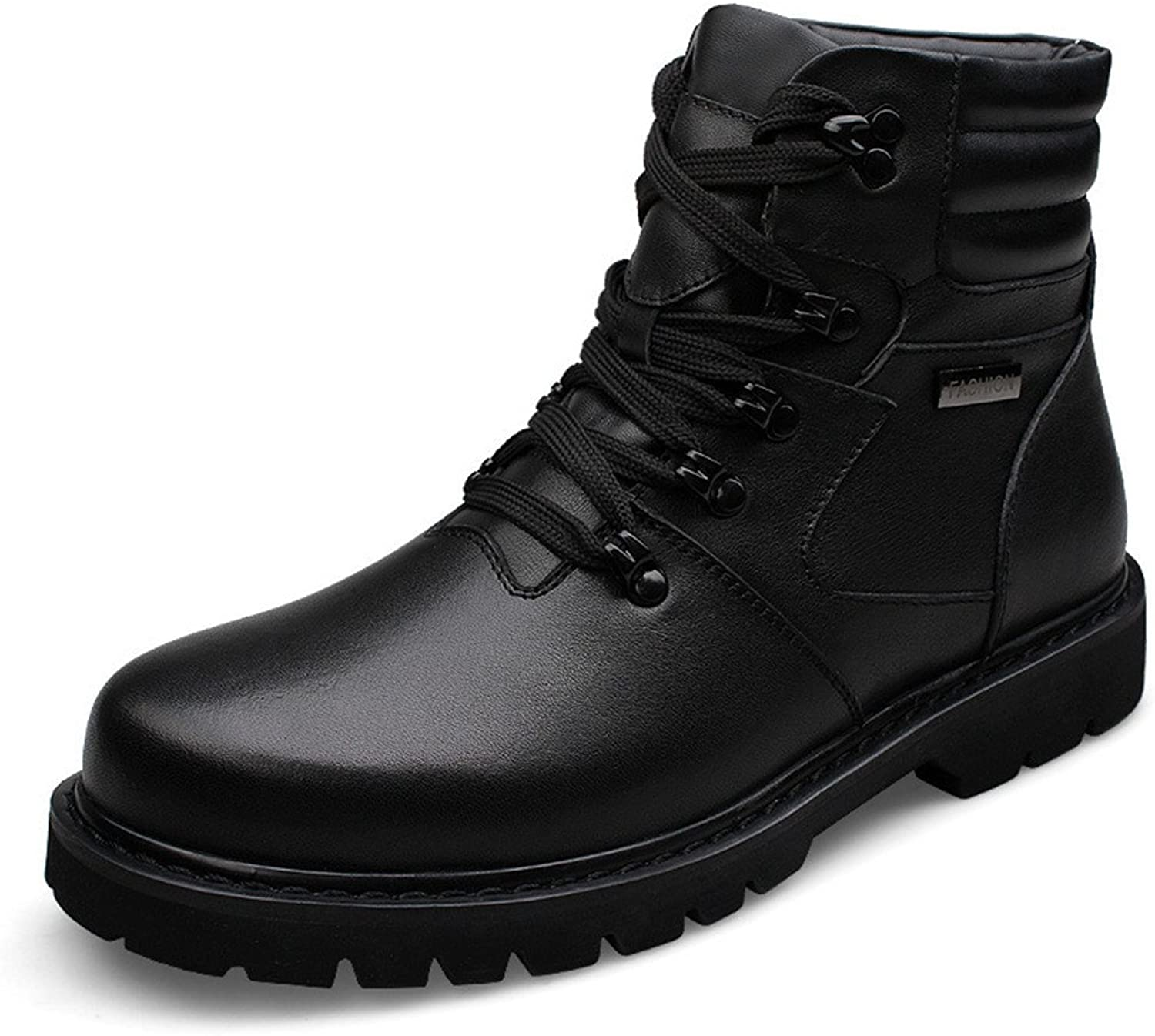 ZQ@QXFashionable comfortable leather, leisure warm boots, men's high boots, Martin boots