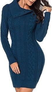 Aleumdr Automne-Hiver Robe Pull Femme Tricoté à Col Revers Bouton Robe Mi-Longue Chandail Pull Chaud S-XL