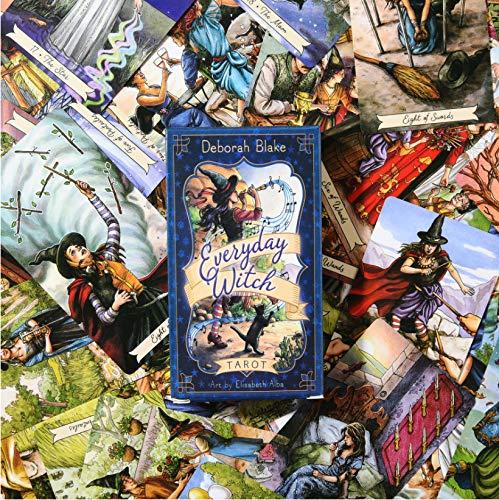 Alltägliche Hexe Tarot, 78 Oracle Cards Deck Full Englisch Mysterious Gibstination für Familienfreund Party Board Spiel, Senden Sie die Wildination Tischdecke
