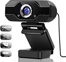 Webcam, USB Webcam with Microphone, 1080P HD Video Webcam, Streaming Computer Web Camera with 120° Vertically Rotation and...
